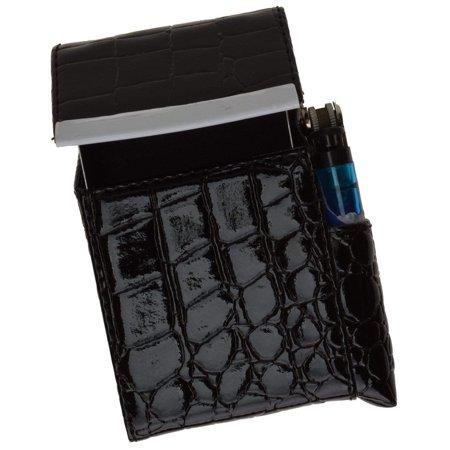 Crocodile Pattern Genuine Leather Cigarette Case Holder with Lighter Pocket 92812CR (C)