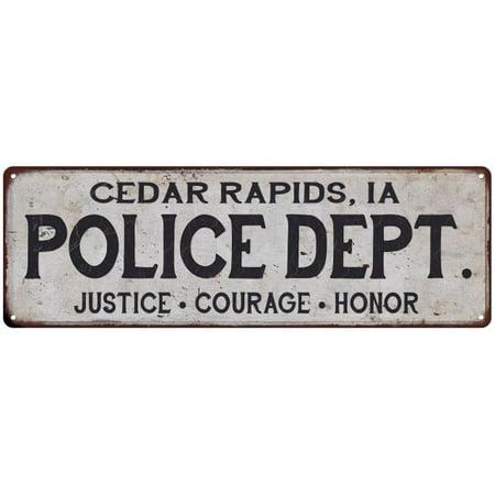 CEDAR RAPIDS, IA POLICE DEPT. Vintage Look Metal Sign Chic Decor Retro 6182928 Elite Ia Metal
