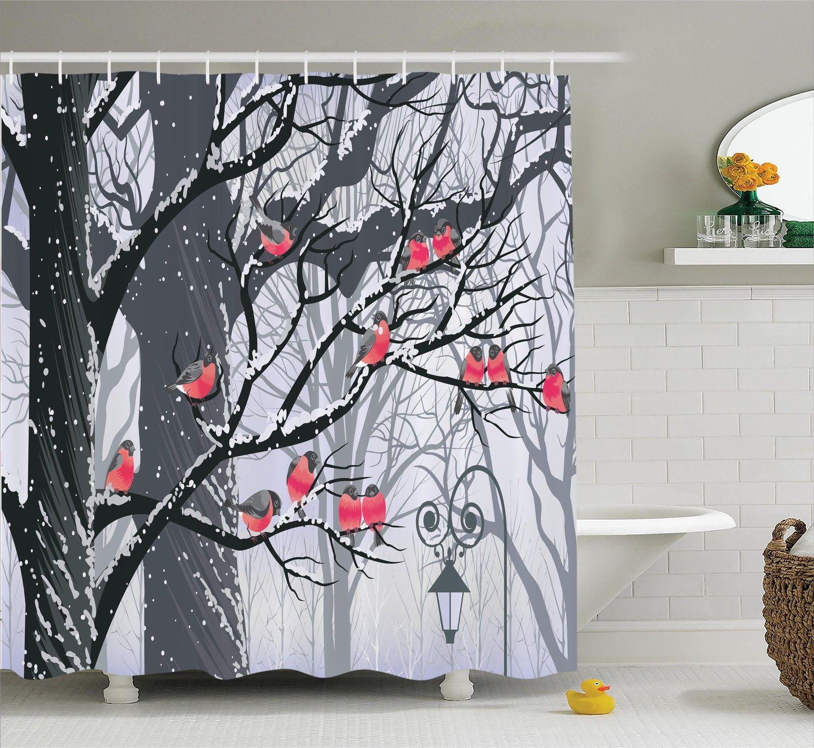 Apartment Decor Shower Curtain Set, Bullfinches On Trees In Winter City Park Snow Cold Weather Immigrant Birds Design, Bathroom Accessories, 69W X 70L Inches, By Ambesonne