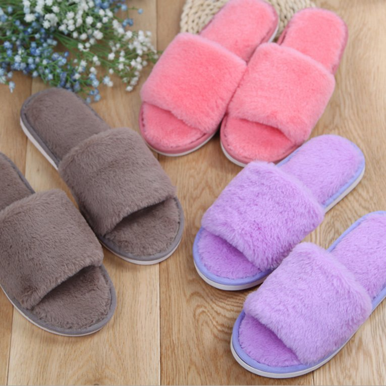 Purple Autumn Winter Candy Color Anti-Slip Men Women Home Indoor Slippers Shoes Winter Keep Warm Soft Couple Slippers