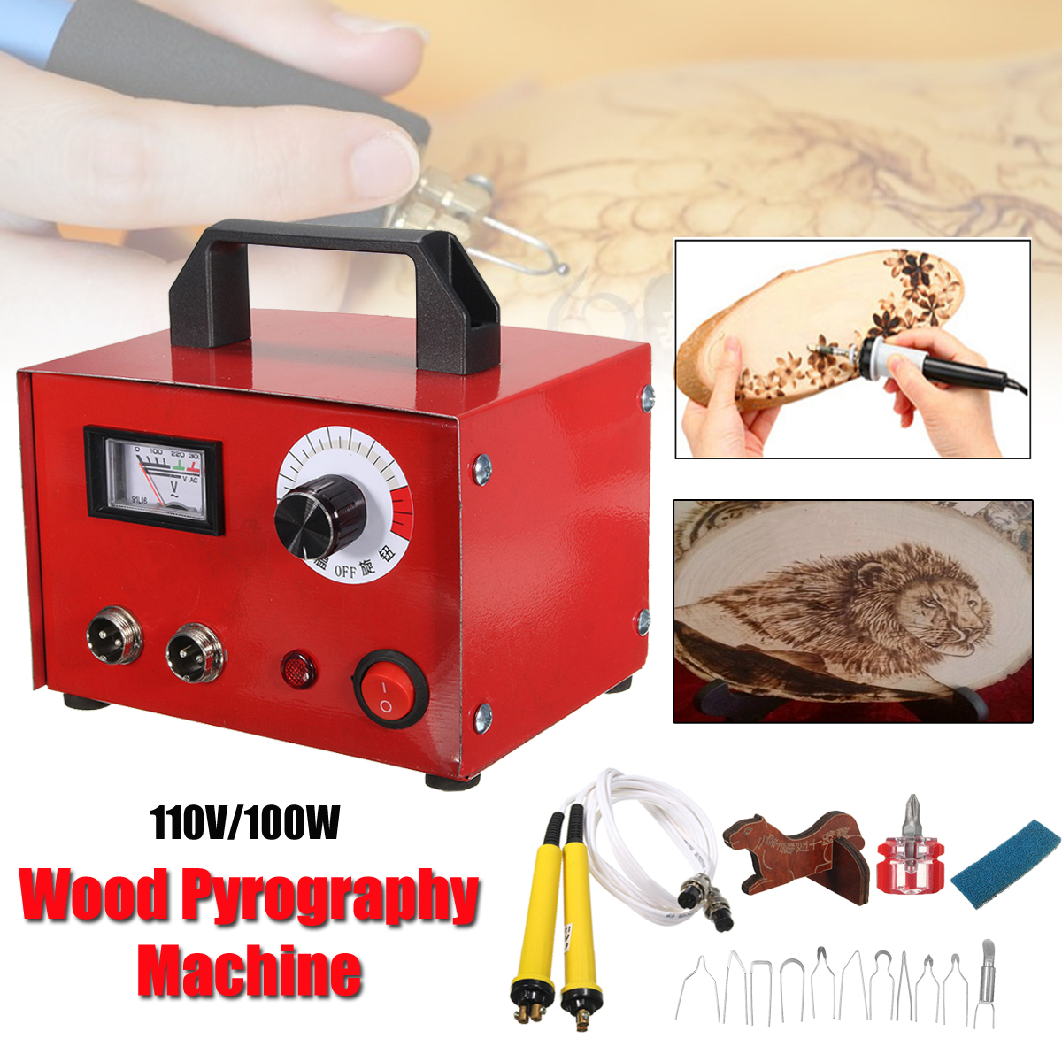 110V 100W Multifunction Gourd Laser Pyrography Engraving Sculpture Carving Heating Wire Pen Kit Tool Woodburning