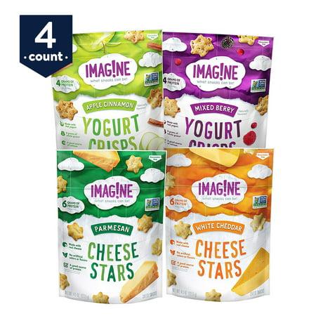 Snacks Sampler - Imag!ne Sampler Variety Pack, Cheese Stars and Yogurt Crisps, 4.5 oz Bags, 4 Count