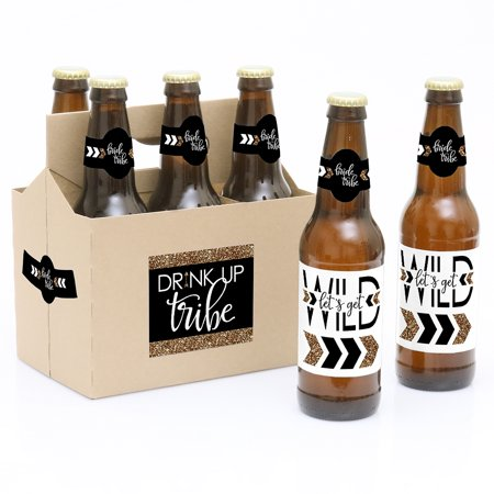 Bride Tribe - Bridal Shower & Bachelorette Party Decorations for Women and Men - 6 Beer Bottle Label Stickers and 1 Our Bride Tribe - 6 Beer Bottle Labels Bridal Shower & Bachelorette Party with 1 Beer Carrier are the perfect gift for the guest honor. This set comes with a craft paper carrier and 6 beer bottle labels that are printed on sticker paper that is waterproof. Apply labels to room temperature bottles. Apply beer bottle labels either after removing original label for best results or put over existing labels if you choose. Chill after you are done applying labels. For the two larger labels that are left over apply to the front and back of paper carrier. Use the two smaller ones to put on each end of the paper carrier to give you the completed look. (Beer in image is obviously NOT included).Kit includes 6 labels to decorate bottles and includes 4 labels for decorating the kraft paper carrier. Labels are printed on sticker paper that is waterproof. The main sticker label is 3.5  x 3  and the collar/neck sticker label is 3.5  long x 1.5  wide at the center. Please note, this is faux glitter - it's printed to look like glitter, but it is not real glitter.Apply labels to room temperature bottles. Apply beer bottle labels either after removing original label for best results or put over existing labels if you choose. Chill after you are done applying labels. (Beer in image is NOT included).