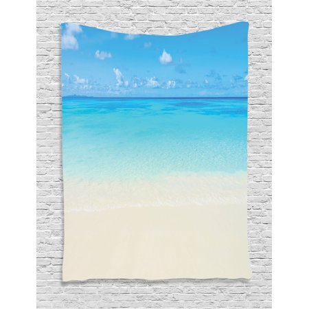 Ocean Decor Wall Hanging Tapestry, Paradise Beach In Tropical Caribbean Sea With Fantastic Sky View Calm Beach House Theme, Bedroom Living Room Dorm Accessories, By Ambesonne - Caribbean Decor