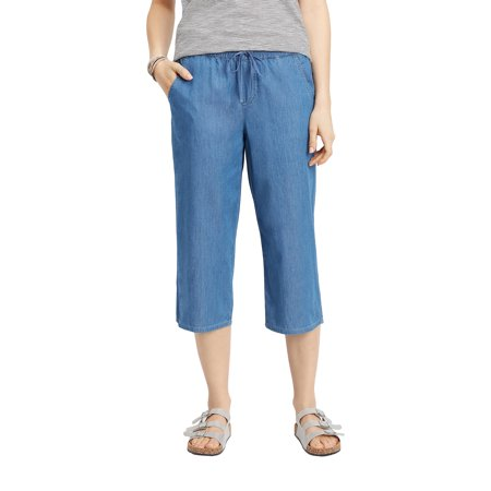 Chambray Crop Pants (Chambray Pull On Cropped Pant )
