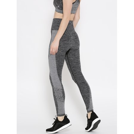 f2f5303cfb71a HRX by Hrithik Roshan Charcoal Grey Patterned Seamless Tights - image 1 of  6 ...