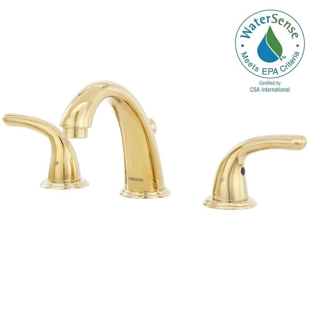 Builders 8 in. Widespread 2-Handle Bathroom Faucet with Drain in ...