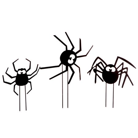 Metal Spider Stakes Set of 3 by Fox River CreationsTM Halloween Outdoor Yard Decorations - Quick Easy Outdoor Halloween Decorations