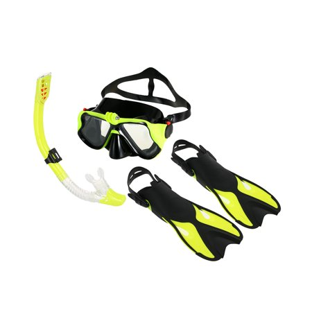 Snorkeling Combo Set Anti-fog Goggles Mask Snorkel Tube Fins with Gear Bag for Men Women Swimming Scuba Diving