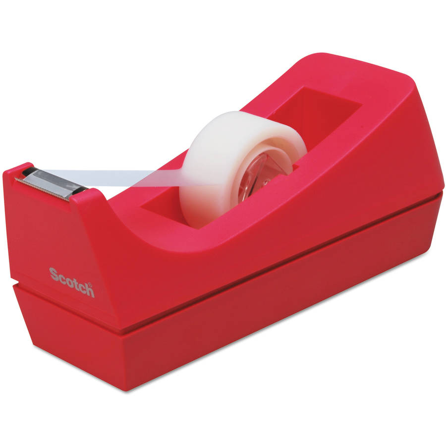 "Scotch Desktop Tape Dispenser, 1"" core, Weighted Non-Skid Base, Pink"