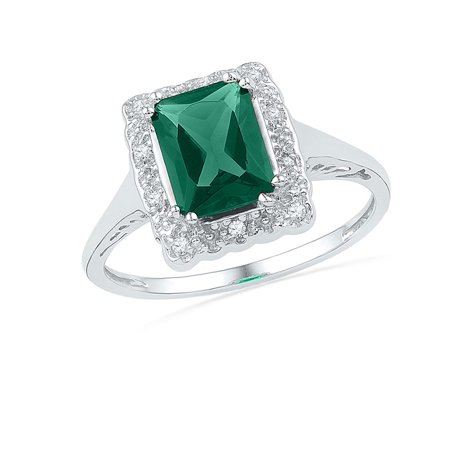 769c23fba48b2 10kt White Gold Womens Emerald Lab-Created Emerald Solitaire Ring 1 ...