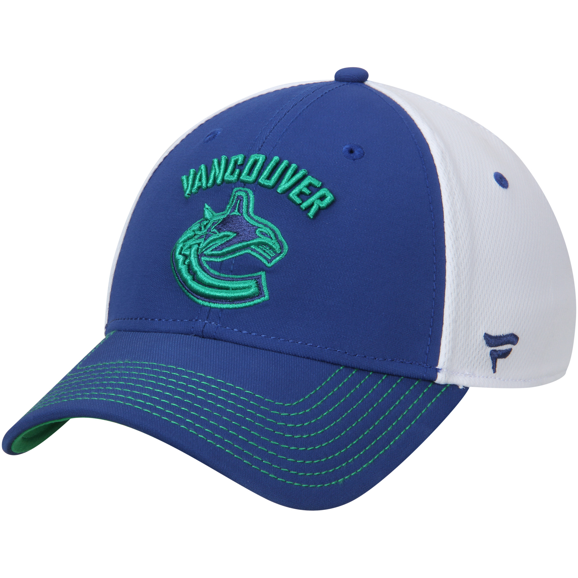 Vancouver Canucks Fanatics Branded Iconic Bold Speed Stretch Fit Flex Hat - Blue/White