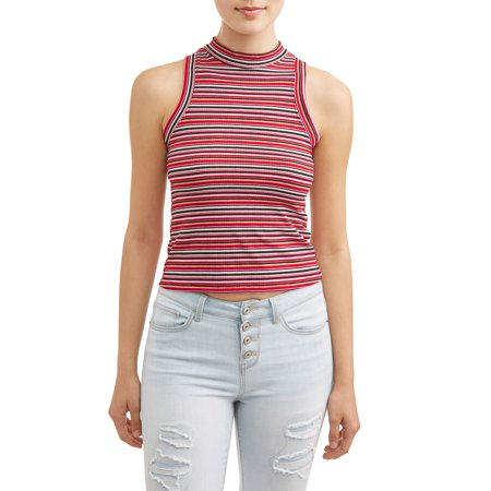 Juniors' Striped Rib Knit Mock Neck Tank ()