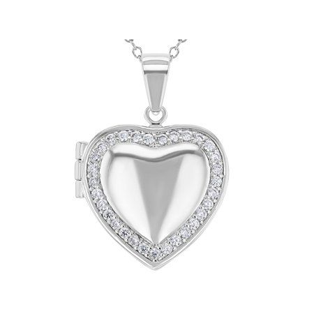Rhodium Plated Clear Crystal Love Heart Photo Locket Pendant Necklace 19
