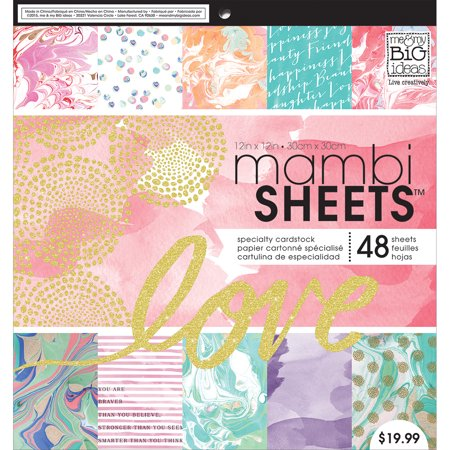 "Mambi Single-Sided Paper Pad 12""X12"" 48/Pkg-Modern Marble"