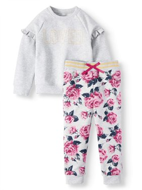 Wonder Nation Ruffle Fleece Top and Floral Jogger Pants, 2pc Outfit Set (Toddler Girls)