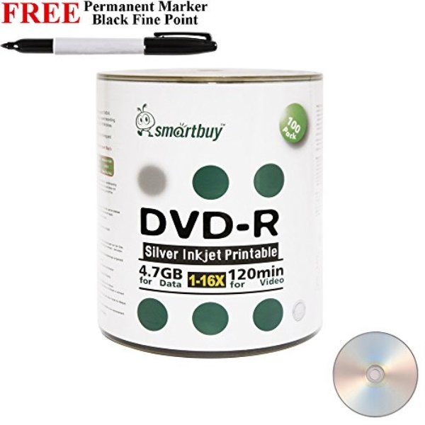 Smartbuy 100-disc 4.7gb/120min 16x Dvd-r Silver Inkjet Hub