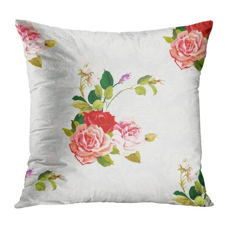 Accent Three Roses - ECCOT Colorful Retro Floral Pattern Three Rose Watercolor Abstract Accent Arrangement Beautiful Beauty Pillow Case Pillow Cover 20x20 inch
