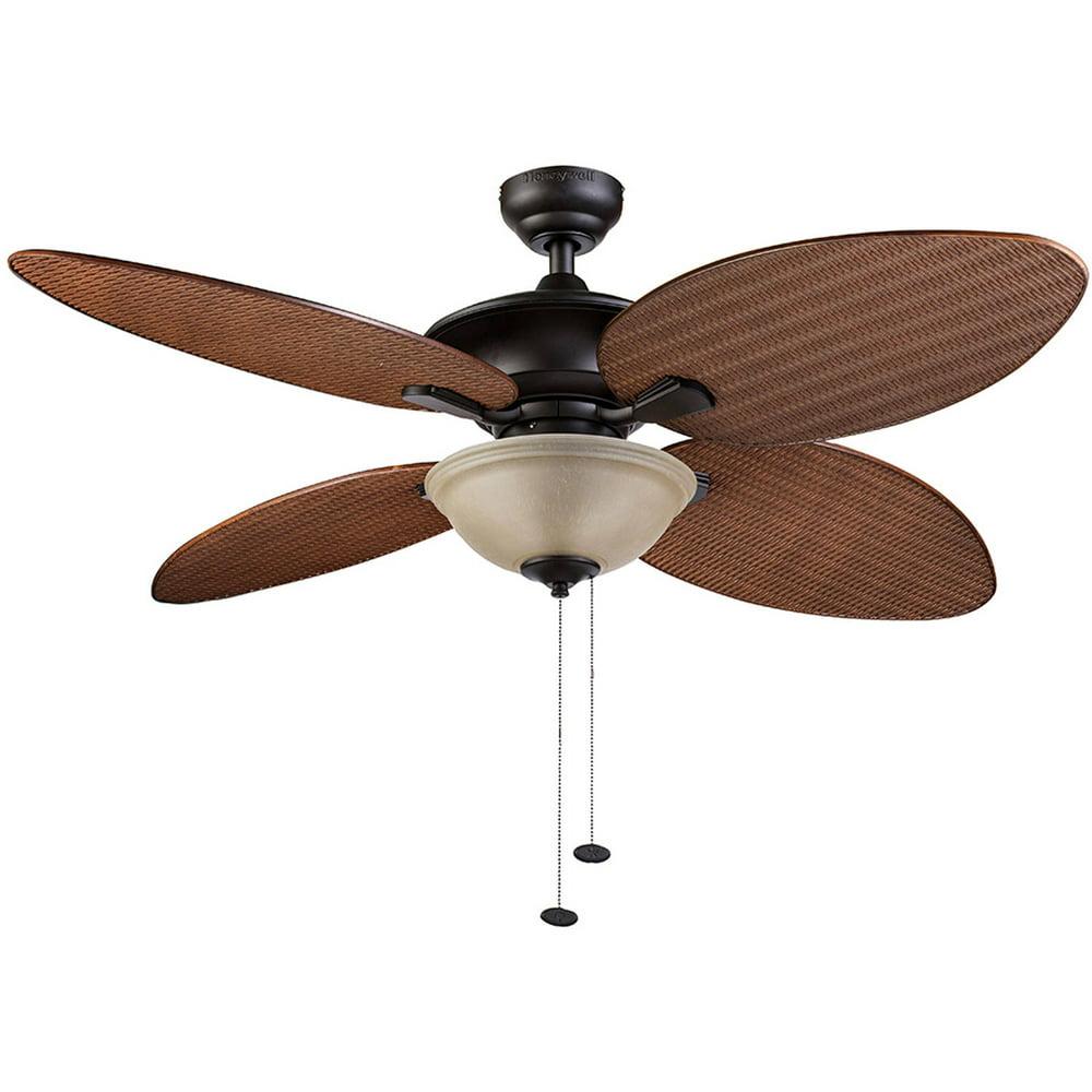 "52"" Honeywell Sunset Key Tropical Ceiling Fan, Bronze"