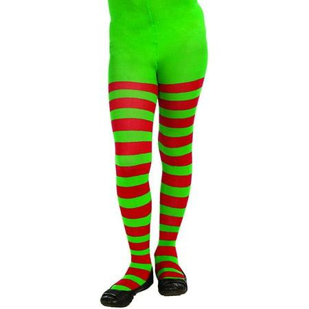 Forum Novelties Novelty Striped Christmas Tights, Child Large ()
