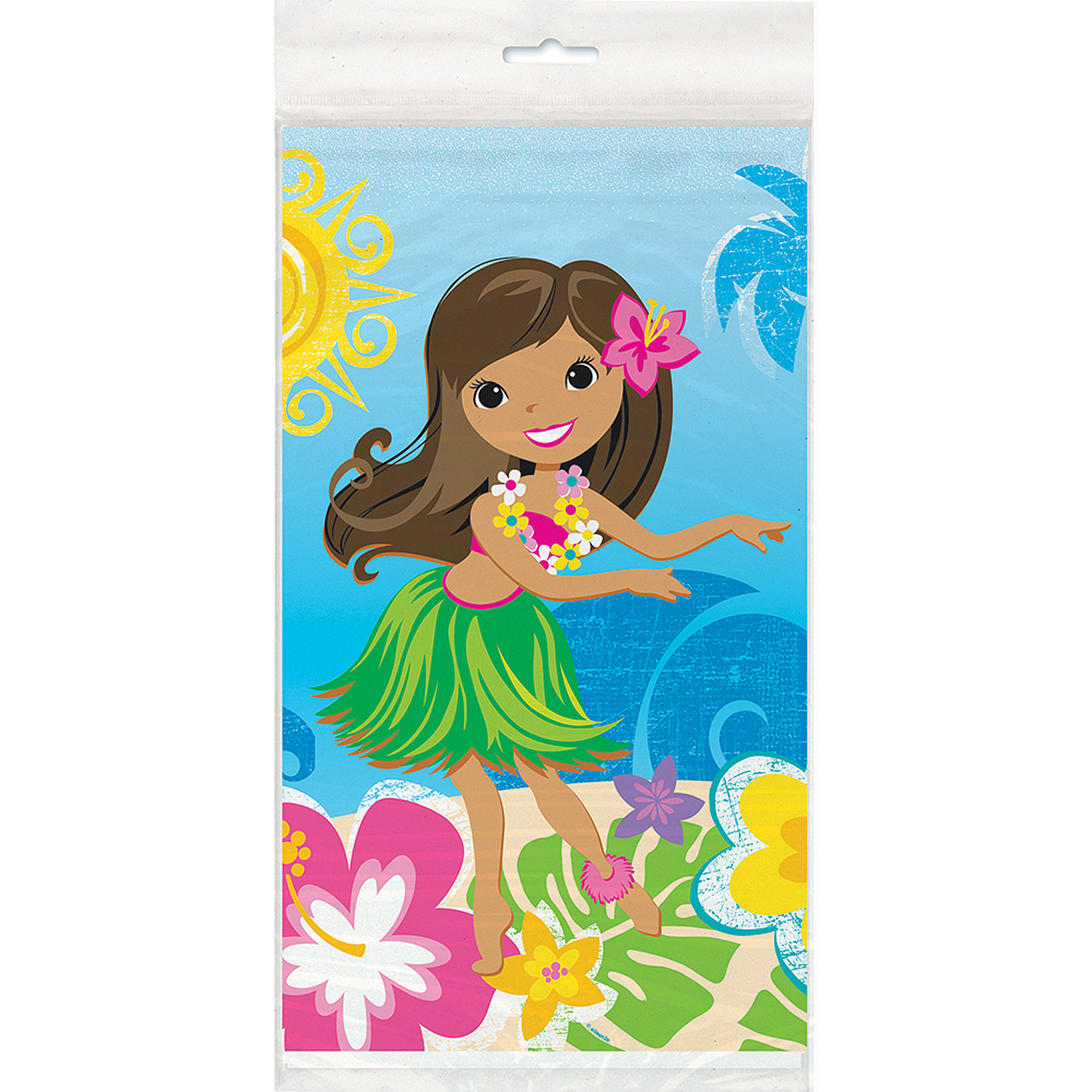 "Plastic Hula Girl Luau Party Table Cover, 84"" x 54"""