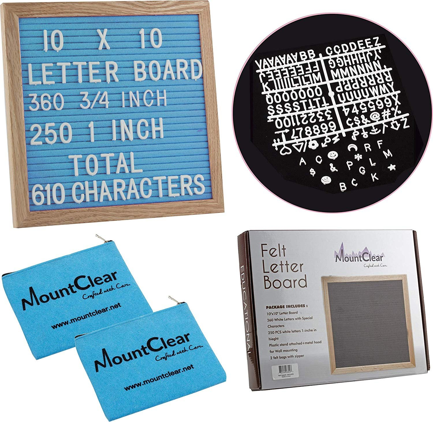 "10"" X 10"" Felt Letter Board with 360 Changeable White Letters – Two Zippered Pouches- Plastic Stand and Metal Hook for Easy Display (Blue)"