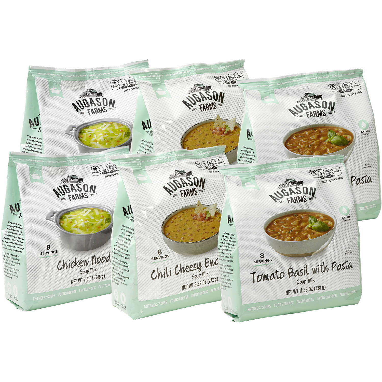 Augason Farms Emergency Food Storage Soup Variety Pantry Packs, 6 pc