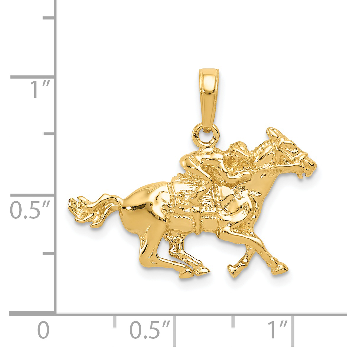 14k Yellow Gold Jockey On Horse Pendant Charm Necklace Animal Sport Man Fine Jewelry Gift For Dad Mens For Him - image 1 de 2
