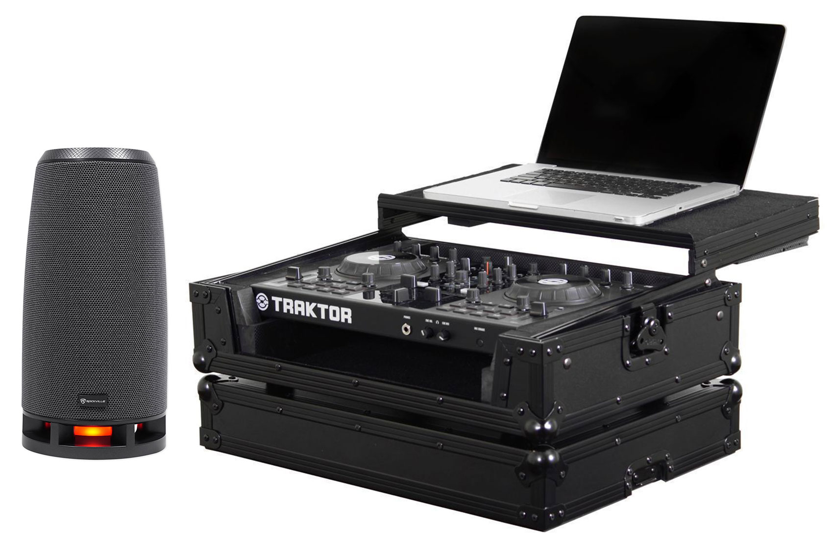 Odyssey FZGSTKS2BL Flight Zone NI Kontrol S2 DJ Case w/ Laptop  Shelf+RockShip