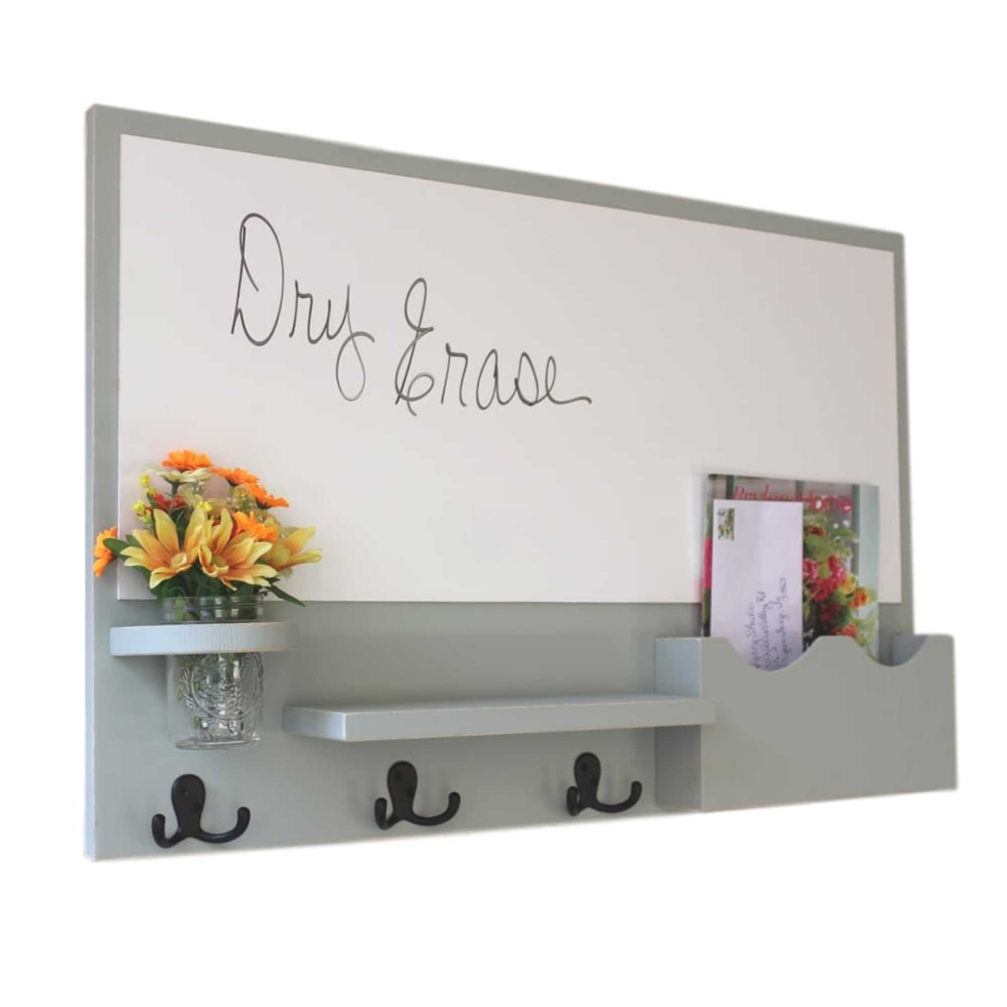 Mail Organizer with Cork Board, Whiteboard, Coat Hooks & Double Mail Slots