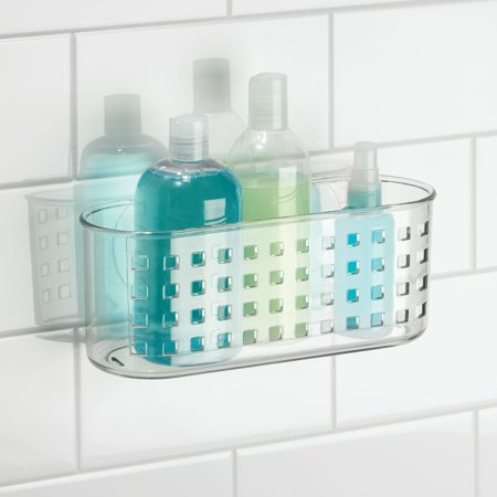 InterDesign Suction Bathroom Caddy Basket, Clear