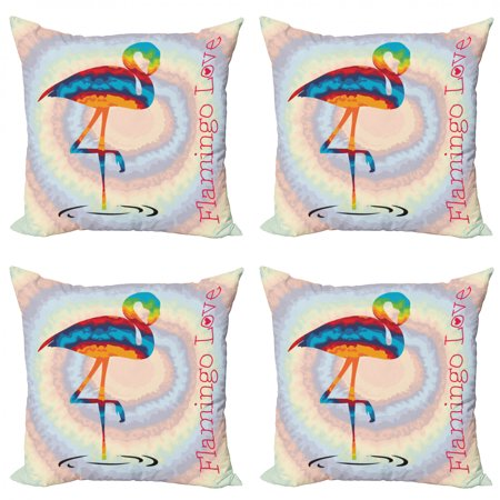Flamingo Throw Pillow Cushion Case Pack of 4, Single Flamingo Rainbow Color Tie Dye Effect Background Animal World Artwork Print, Modern Accent Double-Sided Print, 4 Sizes, Multicolor, by Ambesonne Rainbow Accents Single