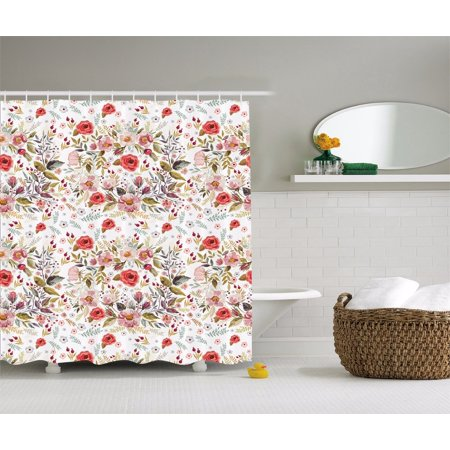 Romantic Floral Roses And Flowers Bud Leaves Shower Curtain Extra Long 84 Inch