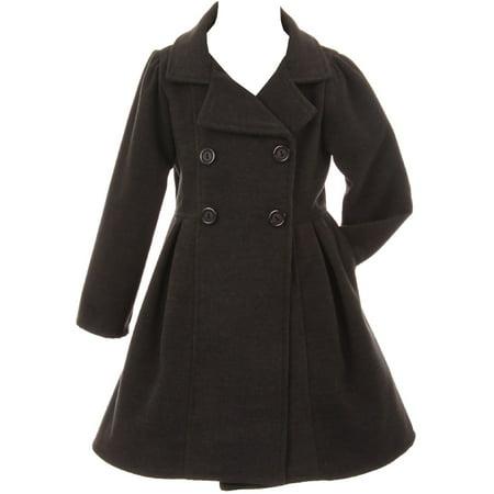 Little Girls Dress Coat Long Sleeve Button Pocket Long Winter Coat Outerwear Charcoal 2 (2J0K4S9)