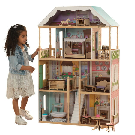 KidKraft Charlotte Classic Wooden Dollhouse with EZ Kraft Assembly, 14-Piece Accessory Set, for 12-Inch