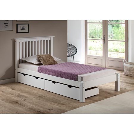 barcelona twin bed with storage drawers white. Black Bedroom Furniture Sets. Home Design Ideas