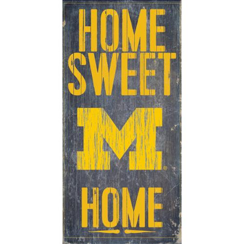 """Michigan Wolverines Wood Sign - Home Sweet Home 6""""x12"""""""