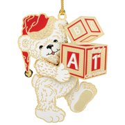 """3.25"""" Red and White 24K Gold """"Baby's 1st Christmas"""" Teddy Bear Ornament"""