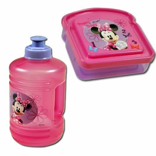 "Disney Minnie Mouse ""Pretty Bows"" Girls Lunch Set (Water Bottle & Sandwich Box), This is a Disney Minnie Mouse Sandwich Box and Water Container set By Zak Designs Ship from US"