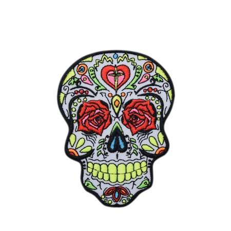 Skull Icon - Day of the Dead - Sugar Skull - Dia De Los Muertos - Iron on EApplique/mbroidered Patch