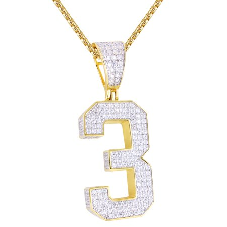 Men's Sterling Silver Number 3 Block Letter Iced Out 14k Gold Finish