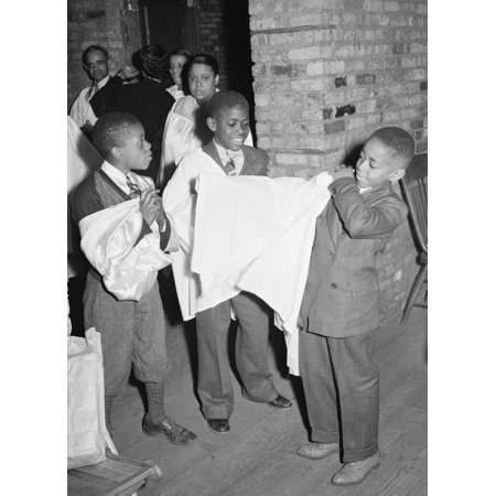 African American Boys of childrens choir putting on their robes Chicago Illinois Poster Print (Choir Robes)