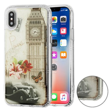 iPhone X Case, iPhone 10 Case, by Insten Big Ben Print Rubber TPU Case Cover For Apple iPhone X 2017 (Combo with Glass Privacy HD Anti Spy Screen (Big Screen Glasses)