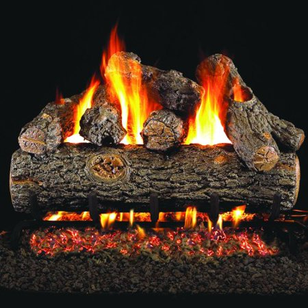 Peterson Real Fyre 24-inch Golden Oak Designer Plus Outdoor Gas Log Set With Vented Natural Gas Stainless G45 Burner - Match Light ()