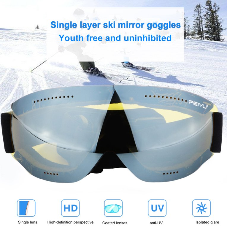 Feiyu 068 Single Layers Windproof Sunglasses Ski Goggles Skiing Accessories by YKS