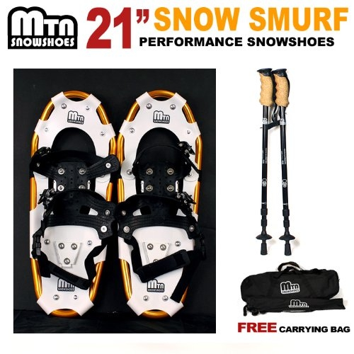 "New MTN-G MTN Man Woman Kid Youth 21"" Snowshoes + Nordic Pole (Black Red Gold Blue) Snow Shoes by MTN Snowshoes"