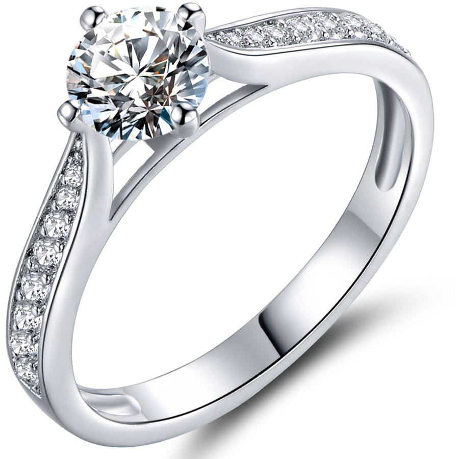 CZ 18kt White Gold Bridal Engagement Ring