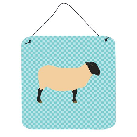 Suffolk Door - Suffolk Sheep Blue Check Wall or Door Hanging Prints BB8146DS66