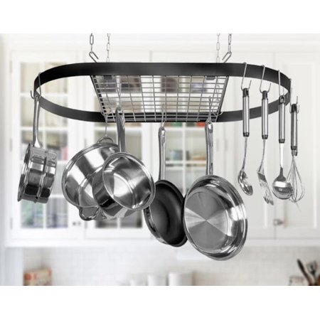 Low Ceiling Oval Pot Rack - Hanging Pot Racks, Oval Stainless Steel Pot and Pan Rack for Ceiling with Hooks Home Kitchen Storage Rack Multi-Purpose Organizer