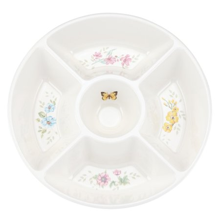 Butterfly Dinnerware - Lenox Butterfly Meadow Melamine 5 Part Divided Server, White